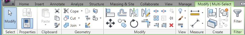 Basic Drawing and Editing Tools Modifying Multiple Elements When multiple element types are selected, the Multi-Select contextual tab opens on the Ribbon, as shown in