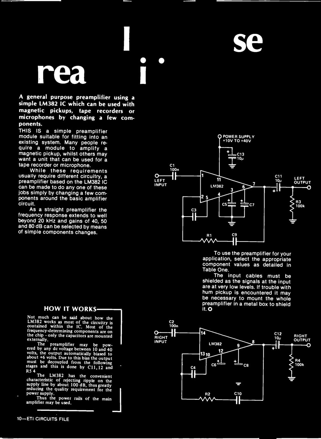 5395 Aspects Audio Design A Large Articles Tackle Are How Stripboard Relay Shield Circuit Diagram Click For Bigger Image The Preamplifier May Be Powered By Any Dc Voltage Between 10 And 40 Volts