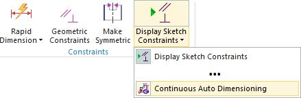 Note that this will not affect dimensions already placed within the active sketch, and will not disable Continuous Auto Dimensioning for the next sketch you create.
