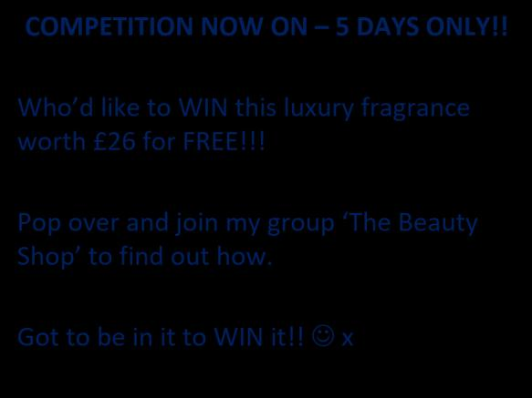 Post your competition post in 6/10 selling groups daily (post during peak times and use a leading advert) See example wording below During competition time, continue to pop 3/5 products per day in