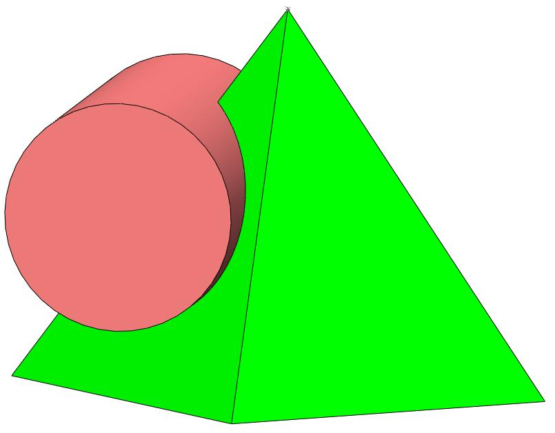 The box is based on a square based pyramid. The window is created with a cut generated by a cylinder. Generate the pyramid, removing the cut material for the window.