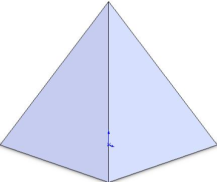The cut surface is generated by cutting the pyramid with a cylinder to give a circular cut when viewed from the right or left.