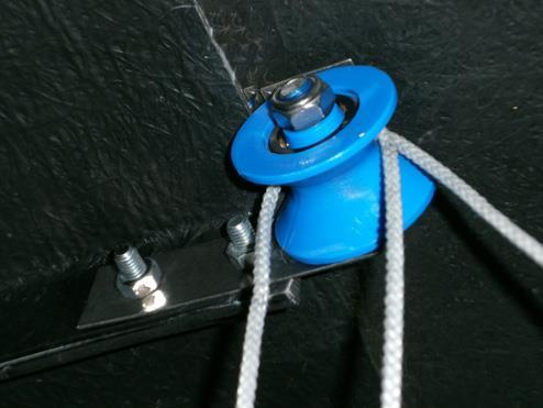 The cleat is used to locate the rope when not being used to operate the pulley.