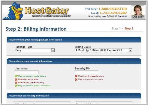 Find a Website Host Provider STEP 4: Fill in Billing Information You can elect to pay per month or