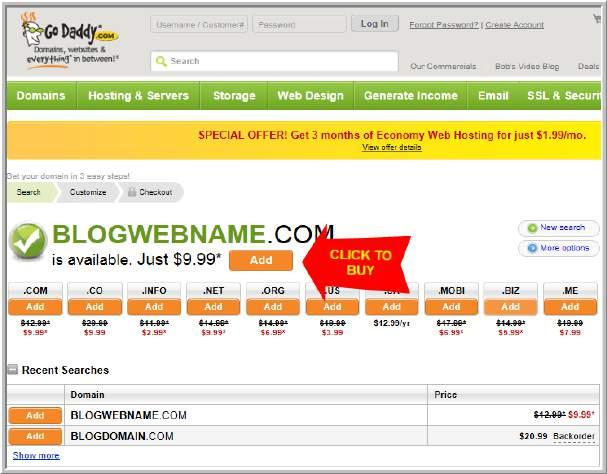 off) STEP 2: Buy Domain Name