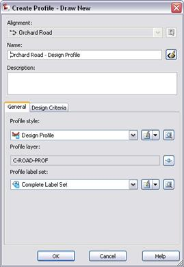 Module 09 - Existing and Design Profiles NOTES 3. In the Create Profile Draw New dialog box, for Name, enter Orchard Road - Design Profile.