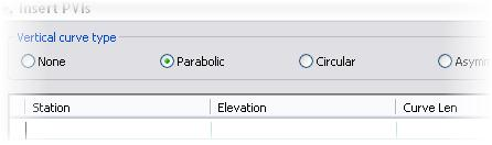 Module 09 - Existing and Design Profiles NOTES 25. Select Parabolic. Notice the Curve Length column is added.