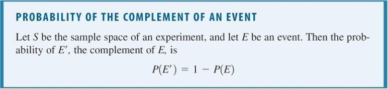 The Complement of an Event The complement of an event E is the set of outcomes in the sample space that is not in E.