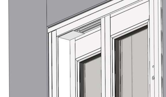 2) Place the inter jamb cover with the wide flat tab toward the fixed sash panel into the jamb. If necessary use rubber mallet to tap securely into place.
