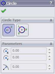 SOLIDWORKS 2015: A Power Guide > 2.31 2.65 Circle The Circle tool of the Circle flyout is used to draw a circle by specify its center and a point on the circumference, see Figure 2.66. 2.66 To create a circle by using the Circle tool, click on the down arrow available next the active circle tool in the Sketch CommandManager, the Circle flyout appears, see Figure 2.