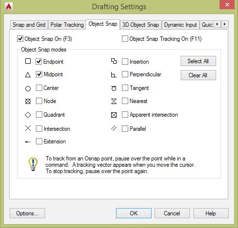 8-15 Fig 8.26 Creating line A,B. Fig 8.27 Select Endpoint and Midpoint Object Snap modes in the Drafting Settings dialog box.