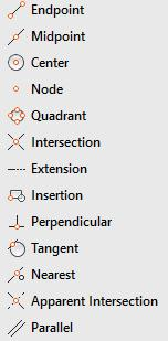 The cursor menu appears at the location of the crosshairs. AutoCAD has 13 different object snap modes. The next sections explain each object snap and provides examples.