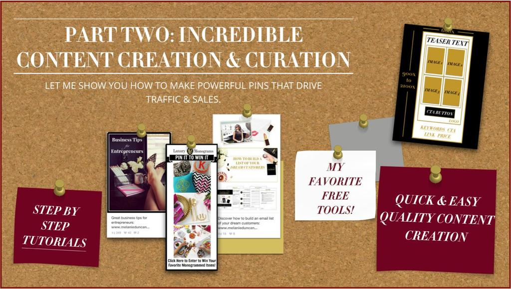 Part 2: Content Creation & Curation Video 1: Becoming the Art Director of Your Pinterest Page Video 2: Creative Content Curation Video 3: Creation Best