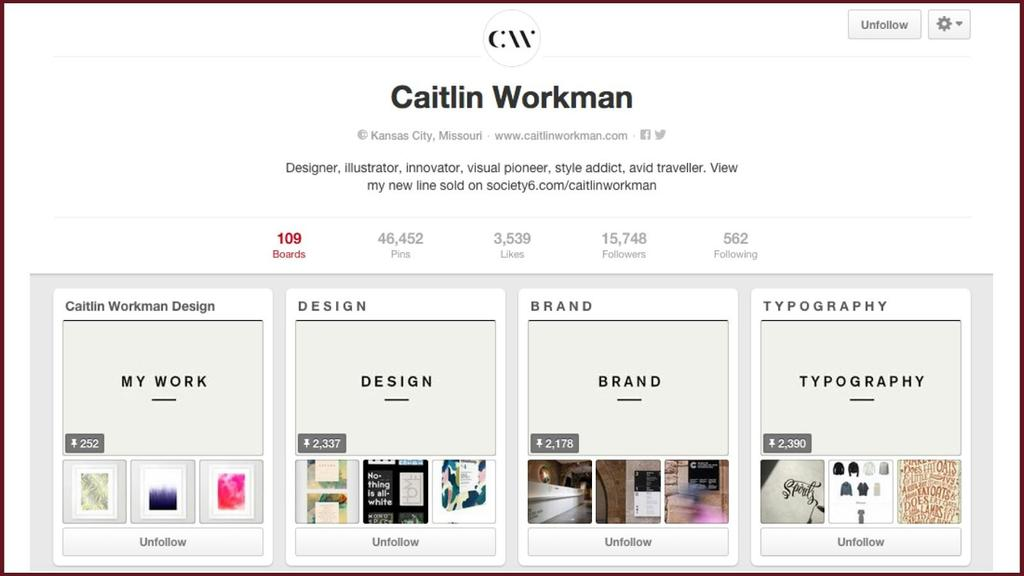 Caitlin Workman is a designer, illustrator and visual pioneer, and her Pinterest Boards are an incredible example of extending her lifestyle, interests, and creative research to her brand.