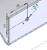 For the next hole, the cylinder pivot hole, repeat step 9 above but this time sketch and dimension the hole as in the next picture.