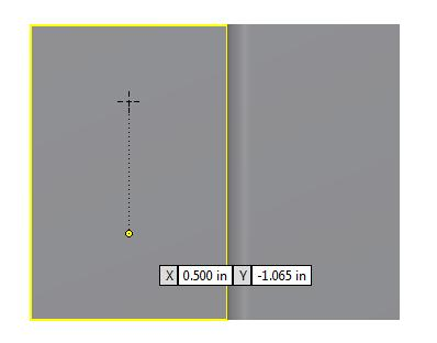 We place the cursor over the top yellow line of the plane to find the midpoint and we place a point towards the top of the plane and another