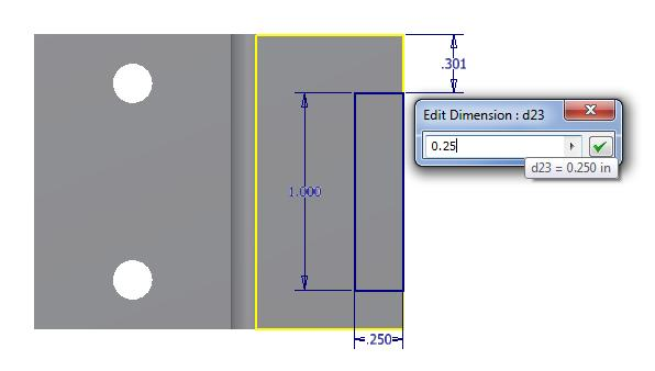 The horizontal measurement is highlighted and we can type 0.25. We press the tab on the keyboard to switch to the vertical dimension and we input 1.0. Figure 5.
