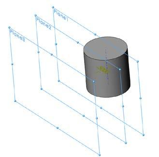 Shown is the resulting cylinder in isometric. Insert three additional reference geometry planes.