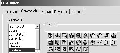 121)Click the Commands tab. Click Features from the category text box. Drag the Dome icon into the Features Toolbar.