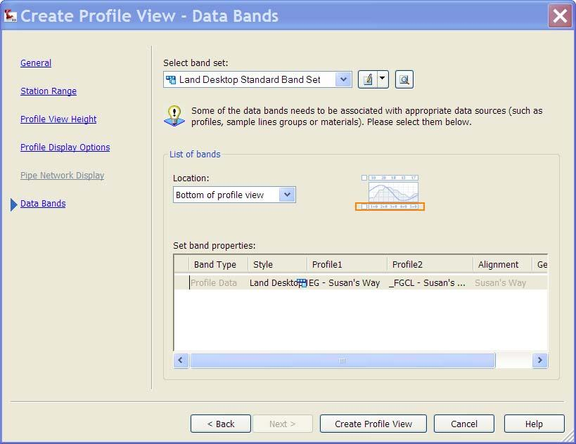 Alignments and Profiles The Data Bands window in the wizard enables you to select the bands you want to include.