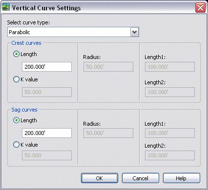 Alignments and Profiles 4. In the Profile Layout toolbar select Curve Settings as shown below. 5.