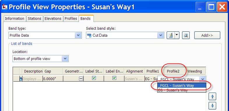 Alignments and Profiles 2. To update, select the Susan s Way profile view, right-click and select Profile View Properties.