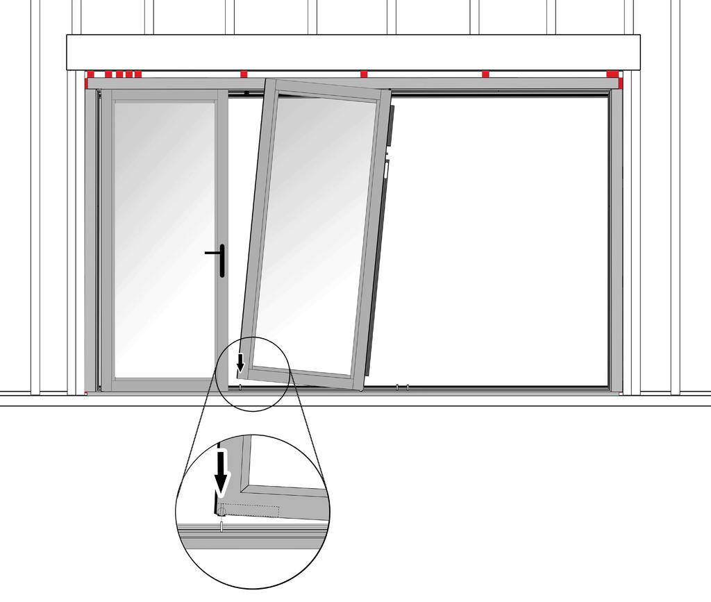 Section 5: Installing the Sliding Panels 13 Note: Install sliding panel(s) with lock keeps next to swing door(s).