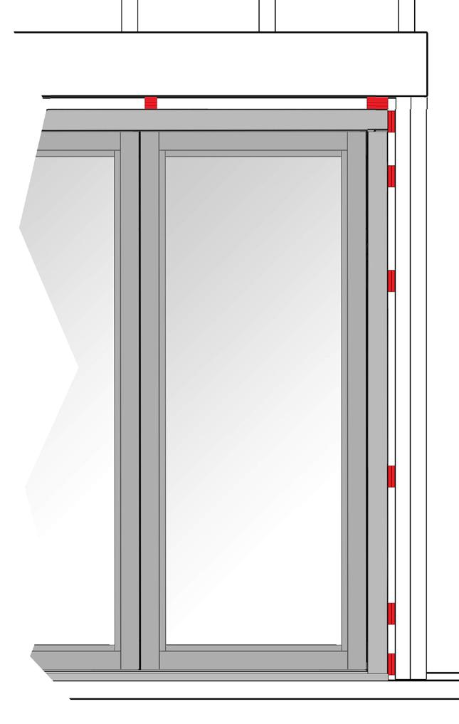Close swing door(s). 2. Slide jamb toward swing door until it is snug up against swing door. 3. Shim between jamb and rough opening framing. 4.