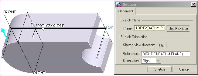 Create the first cut, click: Extrude Tool from dashboard click Remove Material Options Symmetric Section dialog box displays, Sketch Plane--- Plane: select TOP datum from the model as the