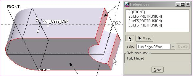 19 Cut References Click: Standard Orientation delete the RIGHT Reference click on the three surfaces shown in Figure 4.