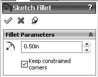 Figure 1-16. Sketch Fillet Menu. Figure 1-14. The Beginning Outline for the Metal Gasket. Using the Rectangle sketching tool, draw a rectangular slot 3.00 inches wide by 0.