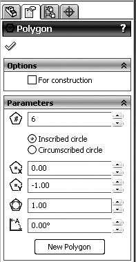 toolbar. Notice that a Sketch Fillet menu now appears where the Feature Manger tree usually is displayed (Figure 1-16). Key in a fillet radius of 0.50 inches.