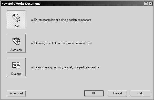 Once you have clicked the OK button, the screen changes into the SolidWorks computer working space with all the previously checked toolbars ready to be used.